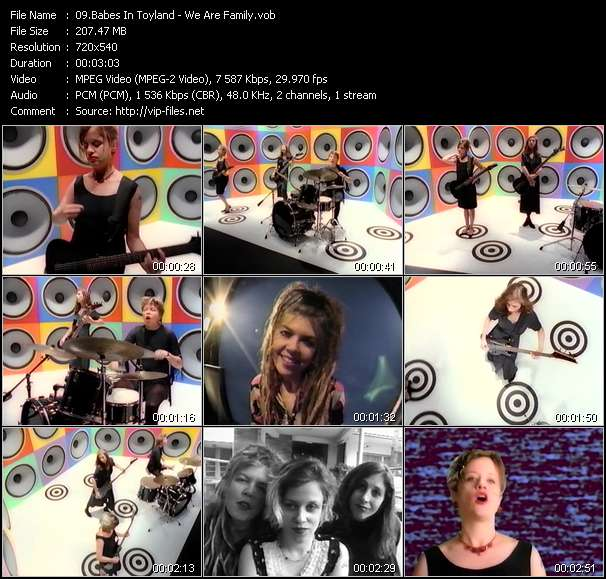 Screenshot of Music Video Babes In Toyland - We Are Family