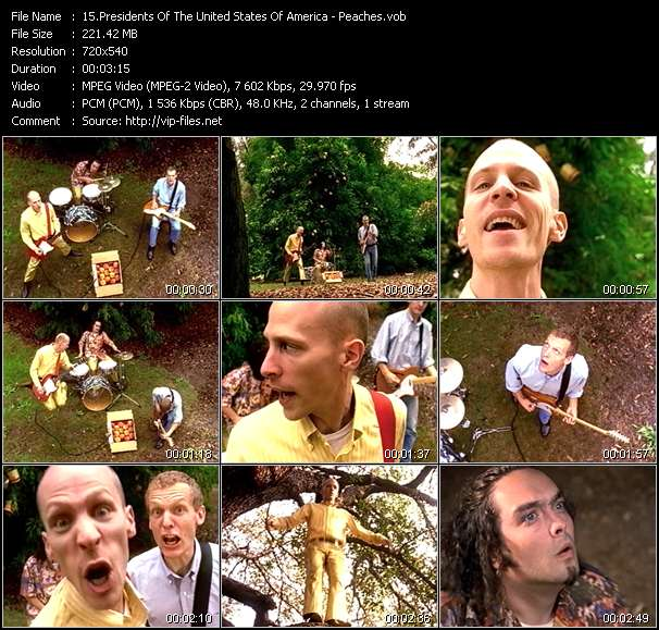Screenshot of Music Video Presidents Of The United States Of America - Peaches