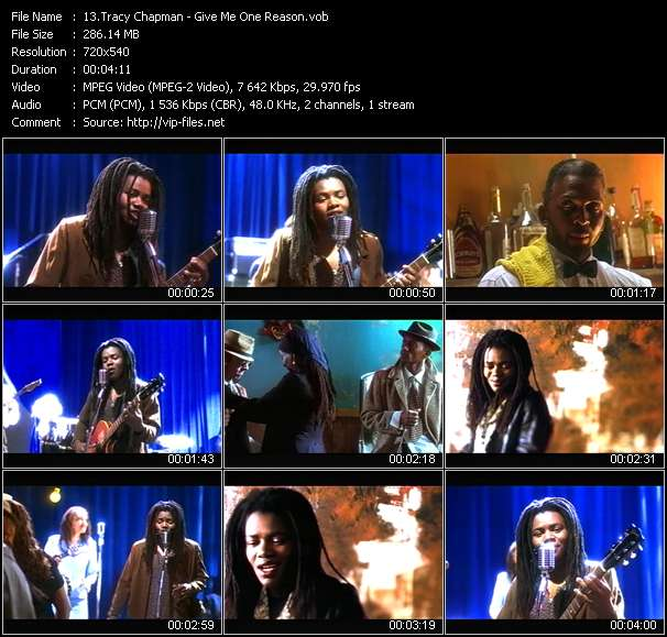 Screenshot of Music Video Tracy Chapman - Give Me One Reason