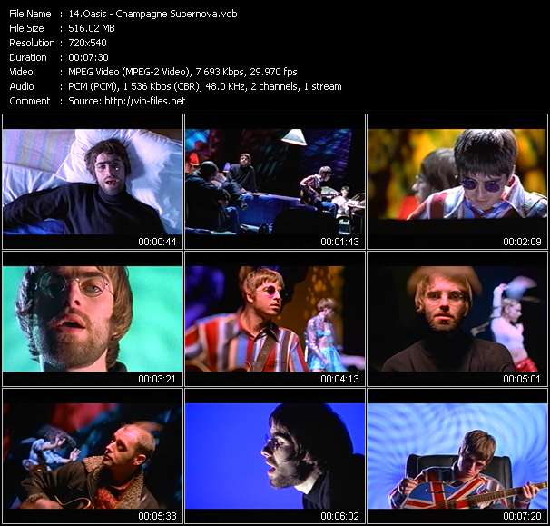 Screenshot of Music Video Oasis - Champagne Supernova