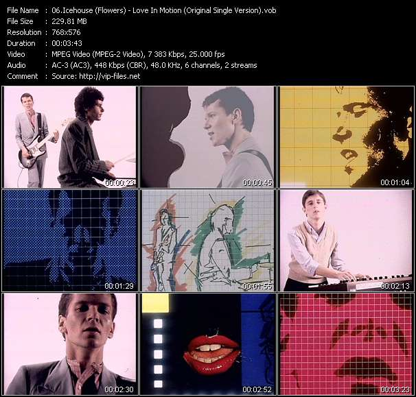 Screenshot of Music Video Icehouse (Flowers) - Love In Motion (Original Single Version)