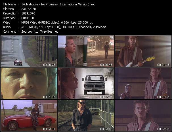 Screenshot of Music Video Icehouse - No Promises (International Version)