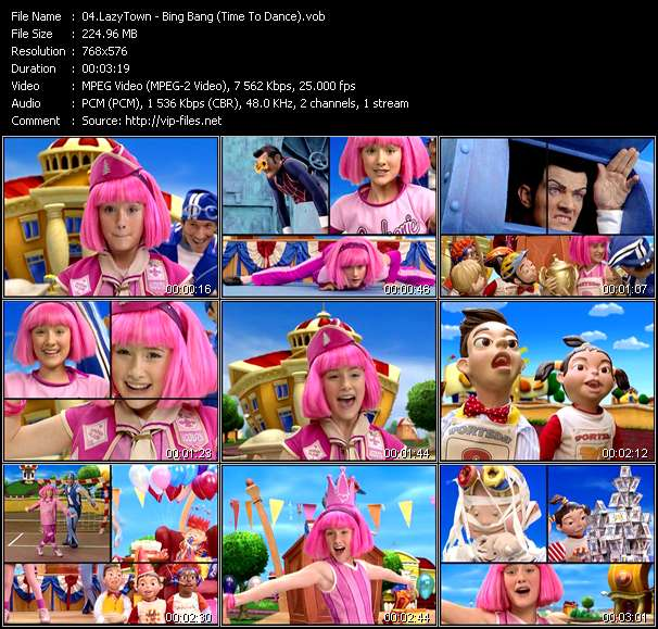 Screenshot of Music Video LazyTown - Bing Bang (Time To Dance)