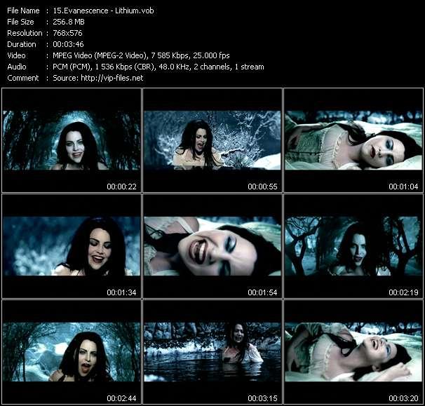 Screenshot of Music Video Evanescence - Lithium