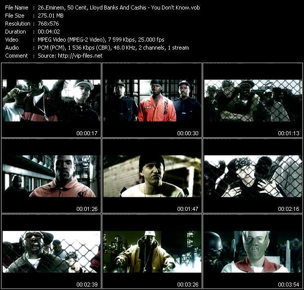Screenshot of Music Video Eminem, 50 Cent, Lloyd Banks And Cashis - You Don't Know