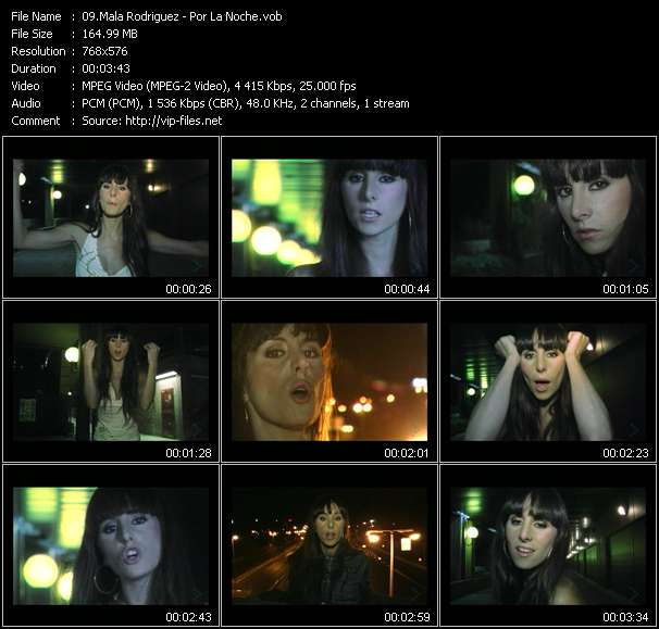 Screenshot of Music Video Mala Rodriguez - Por La Noche