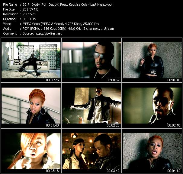 Screenshot of Music Video P. Diddy (Puff Daddy) Feat. Keyshia Cole - Last Night