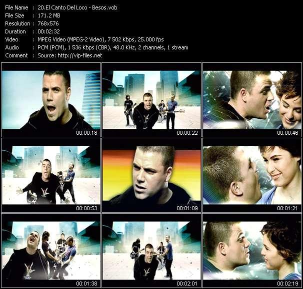 Screenshot of Music Video El Canto Del Loco - Besos