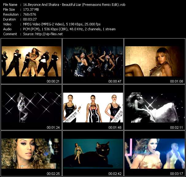 Screenshot of Music Video Beyonce And Shakira - Beautiful Liar (Freemasons Remix Edit)