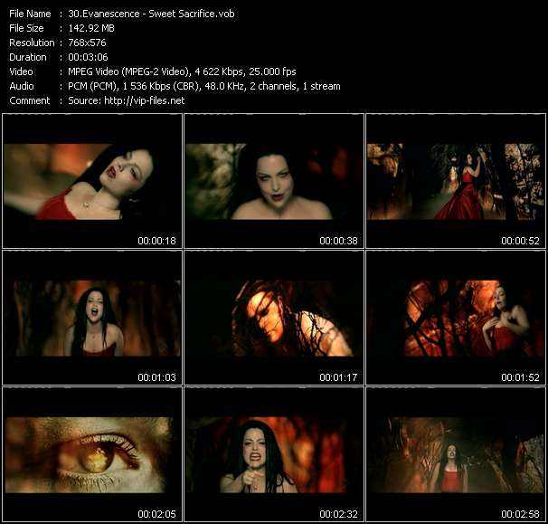 Screenshot of Music Video Evanescence - Sweet Sacrifice