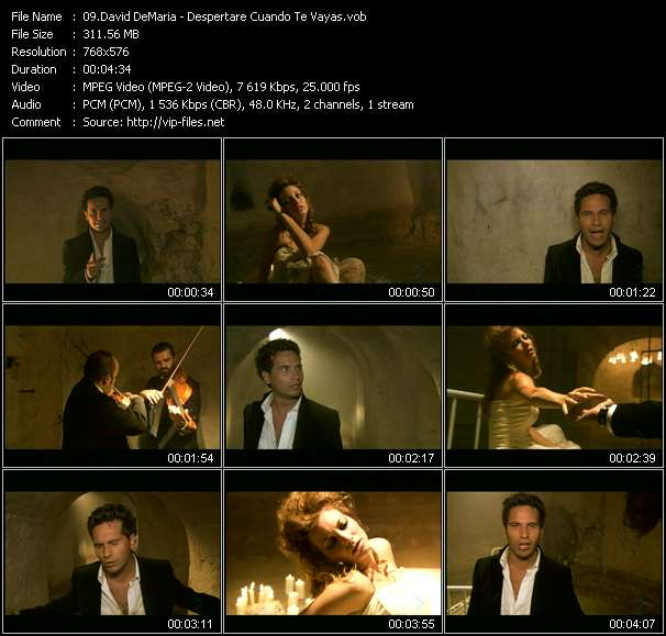 Screenshot of Music Video David DeMaria - Despertare Cuando Te Vayas
