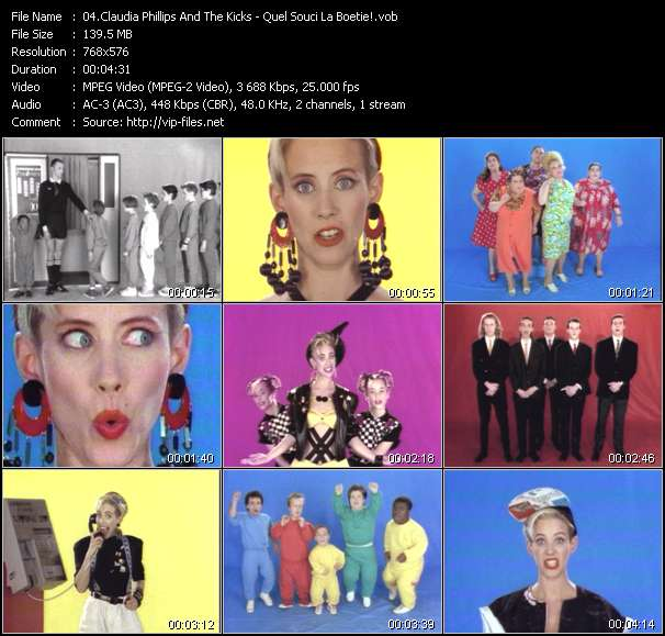 Screenshot of Music Video Claudia Phillips And The Kicks - Quel Souci La Boetie!