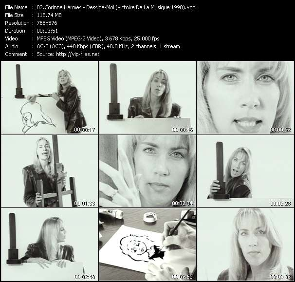 Screenshot of Music Video Corinne Hermes - Dessine-Moi (Victoire De La Musique 1990)