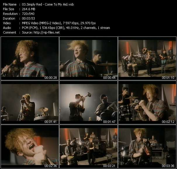Screenshot of Music Video Simply Red - Come To My Aid