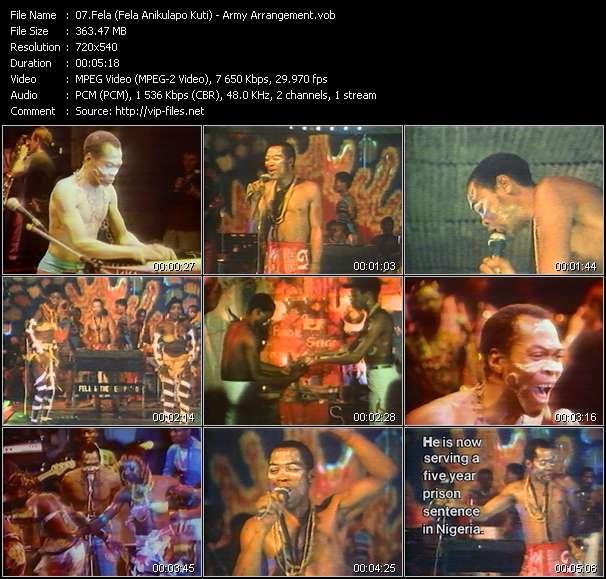 Screenshot of Music Video Fela (Fela Anikulapo Kuti) - Army Arrangement