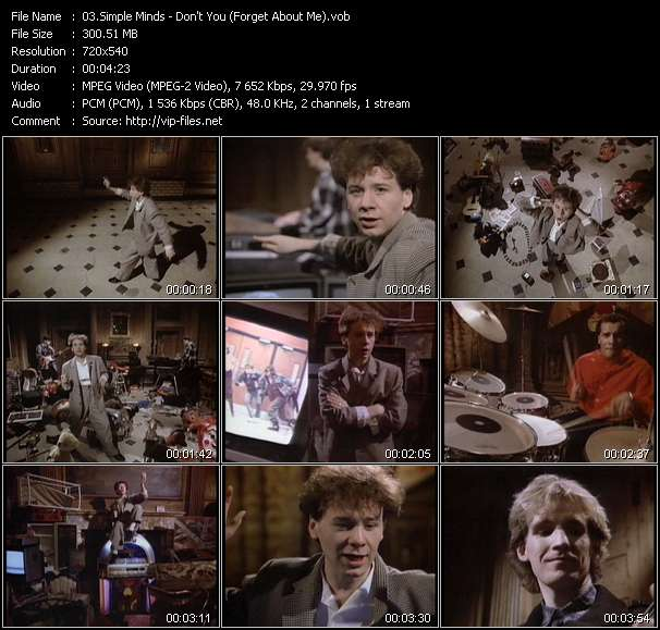Screenshot of Music Video Simple Minds - Don't You (Forget About Me)
