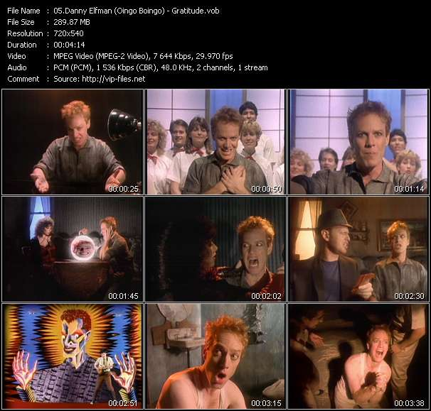Screenshot of Music Video Danny Elfman (Oingo Boingo) - Gratitude