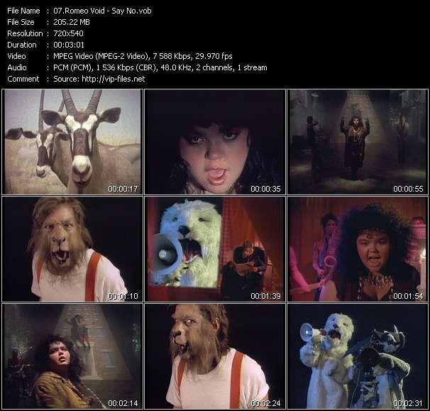 Screenshot of Music Video Romeo Void - Say No