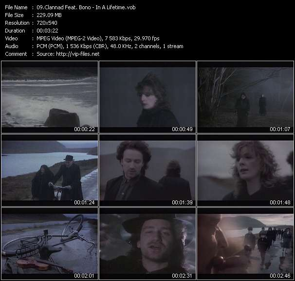 Screenshot of Music Video Clannad Feat. Bono - In A Lifetime