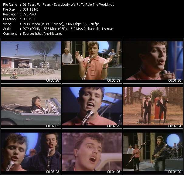 Screenshot of Music Video Tears For Fears - Everybody Wants To Rule The World