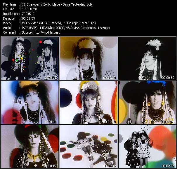Screenshot of Music Video Strawberry Switchblade - Since Yesterday