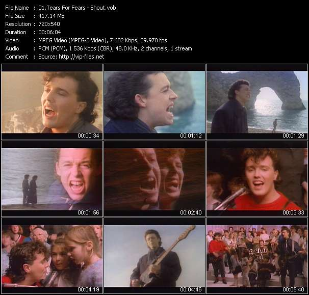 Screenshot of Music Video Tears For Fears - Shout