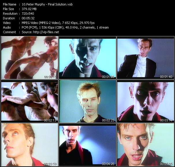 Screenshot of Music Video Peter Murphy - Final Solution
