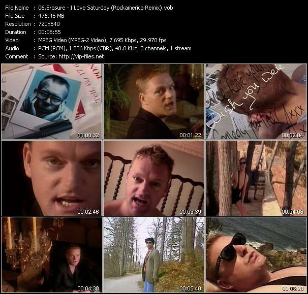 Screenshot of Music Video Erasure - I Love Saturday (Rockamerica Remix)