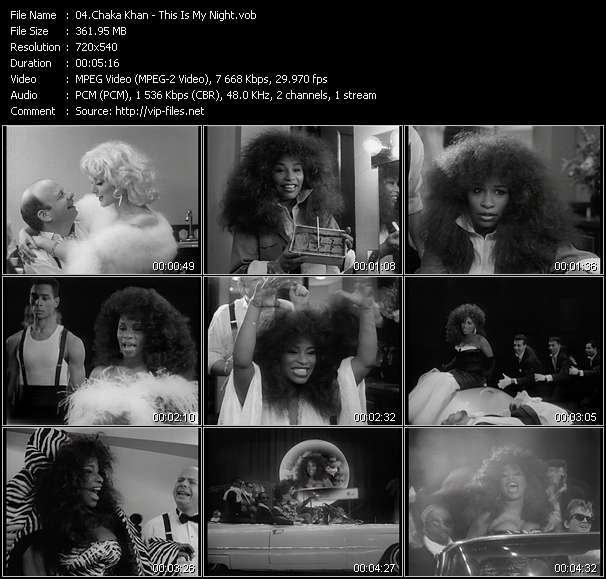 Screenshot of Music Video Chaka Khan - This Is My Night