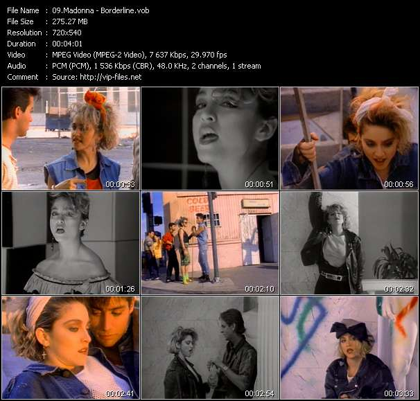 Screenshot of Music Video Madonna - Borderline