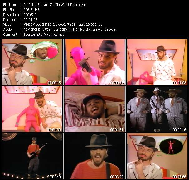 Screenshot of Music Video Peter Brown - Zie Zie Won't Dance