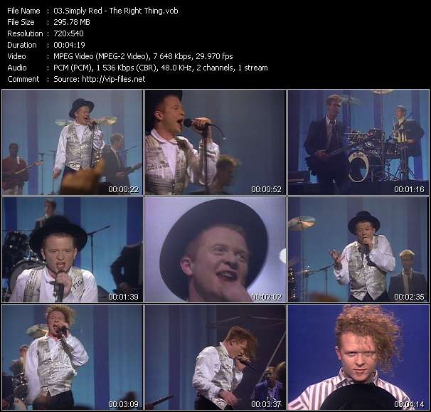 Screenshot of Music Video Simply Red - The Right Thing