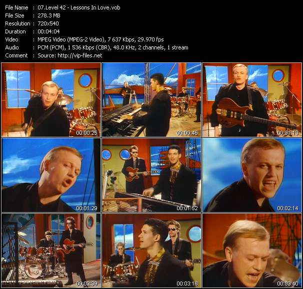 Screenshot of Music Video Level 42 - Lessons In Love