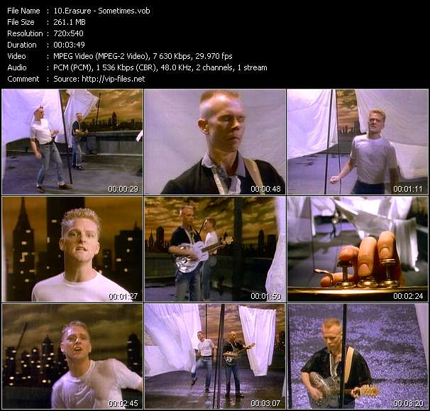 Screenshot of Music Video Erasure - Sometimes