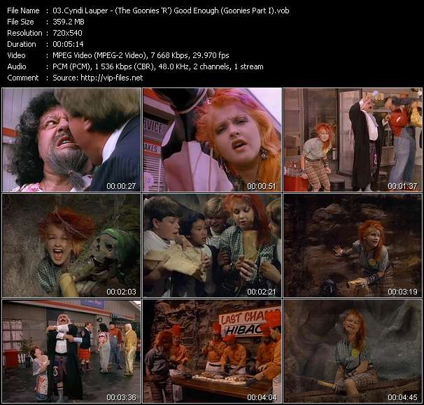 Screenshot of Music Video Cyndi Lauper - (The Goonies 'R') Good Enough (Goonies Part I)
