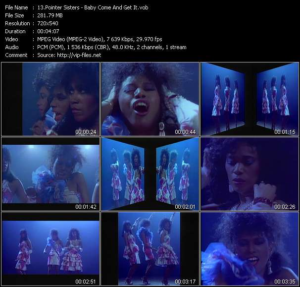 Screenshot of Music Video Pointer Sisters - Baby Come And Get It