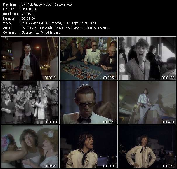 Screenshot of Music Video Mick Jagger - Lucky In Love