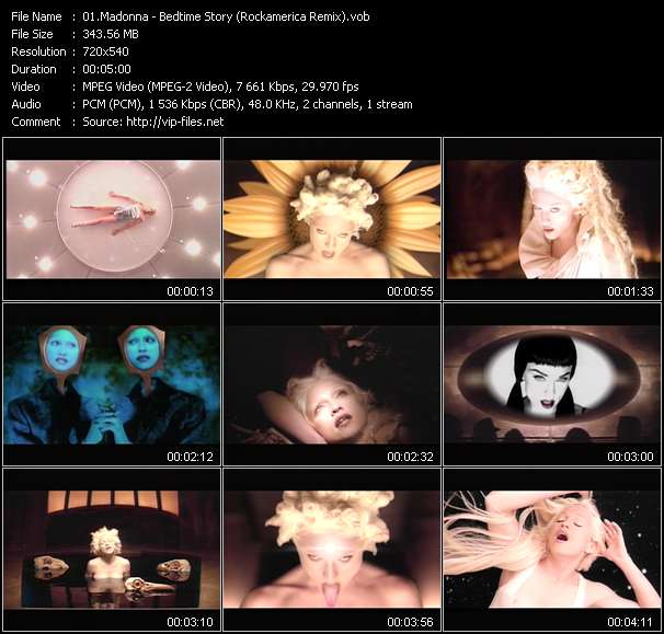 Screenshot of Music Video Madonna - Bedtime Story (Rockamerica Remix)