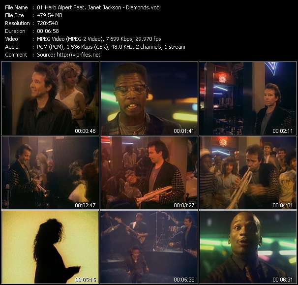 Screenshot of Music Video Herb Alpert Feat. Janet Jackson - Diamonds