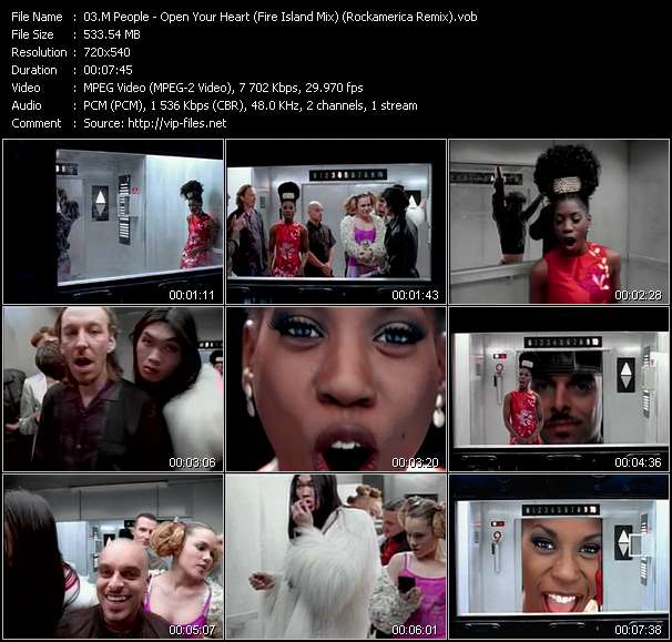 Screenshot of Music Video M People - Open Your Heart (Fire Island Mix) (Rockamerica Remix)