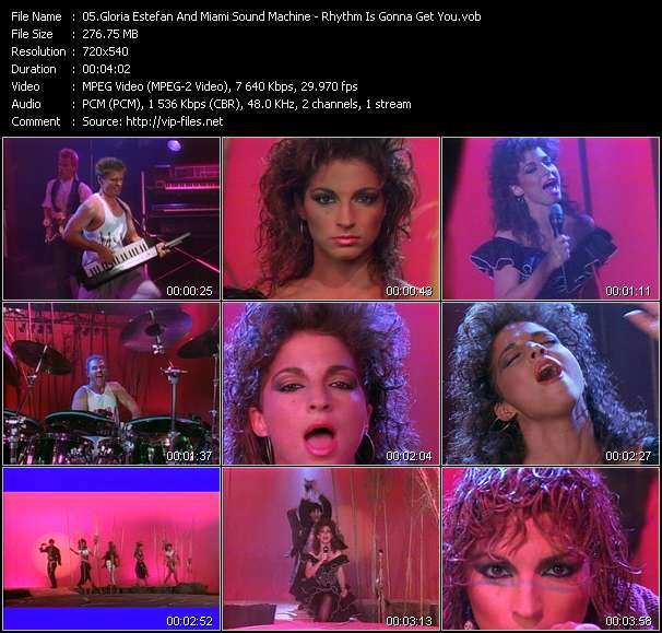 Screenshot of Music Video Gloria Estefan And Miami Sound Machine - Rhythm Is Gonna Get You