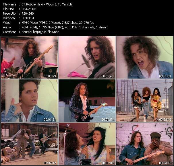 Screenshot of Music Video Robbie Nevil - Wot's It To Ya