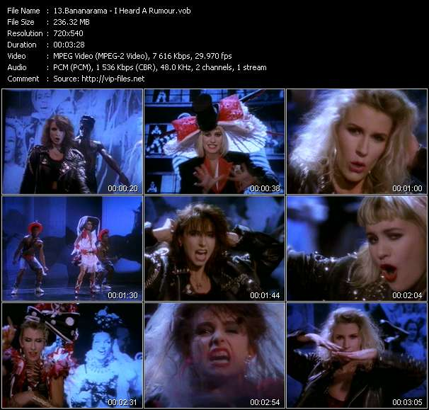 Screenshot of Music Video Bananarama - I Heard A Rumour