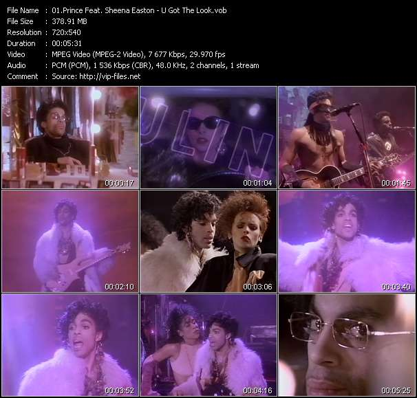Screenshot of Music Video Prince Feat. Sheena Easton - U Got The Look