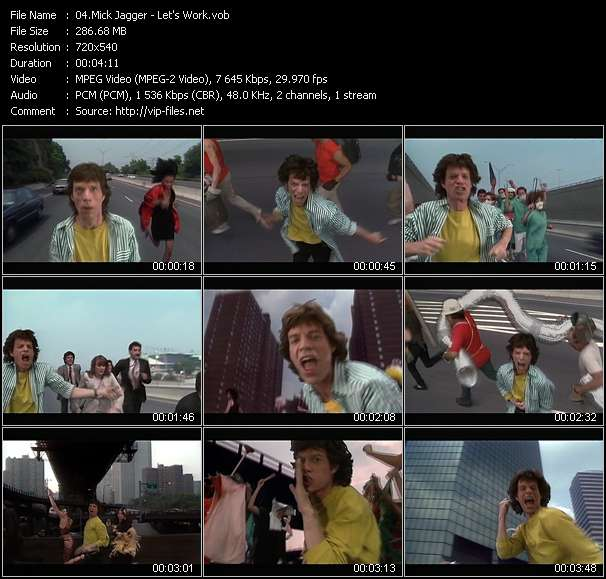 Screenshot of Music Video Mick Jagger - Let's Work