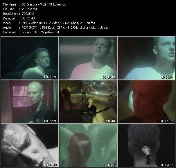 Screenshot of Music Video Erasure - Victim Of Love