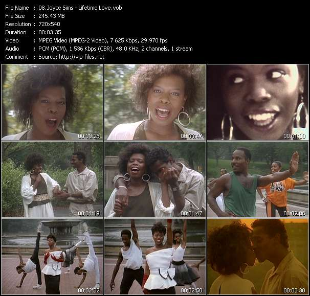 Screenshot of Music Video Joyce Sims - Lifetime Love