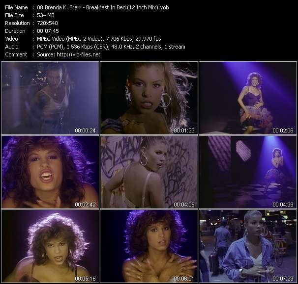 Screenshot of Music Video Brenda K. Starr - Breakfast In Bed (12 Inch Mix)