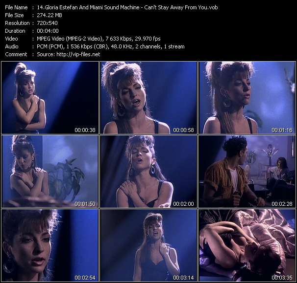Screenshot of Music Video Gloria Estefan And Miami Sound Machine - Can't Stay Away From You