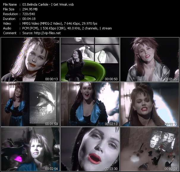 Screenshot of Music Video Belinda Carlisle - I Get Weak